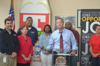 Governor Martin O'Malley addresses the audience at Tulkoff Food Products in Dundalk