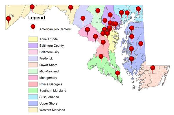 American Job Centers Locator Map